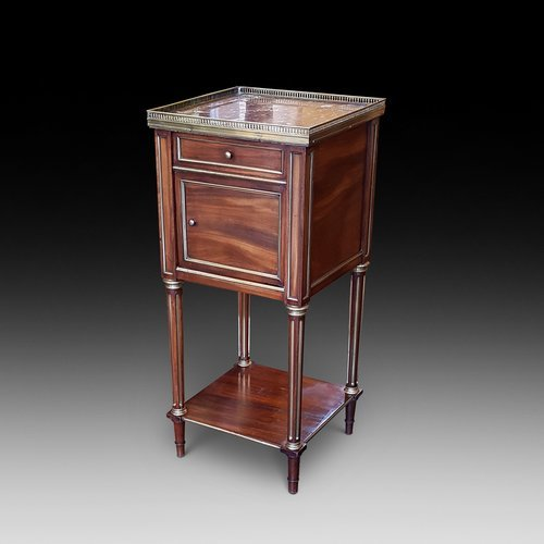 Late 19thC French mahogany bedside cabinet