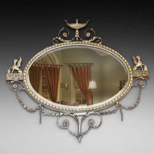 Late 19thC Neoclassical Oval Gilt Mirror