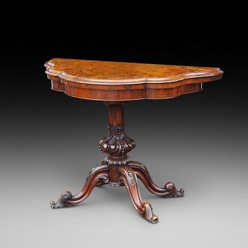 Late Victorian Burr Walnut Serpentine Shape Card Table