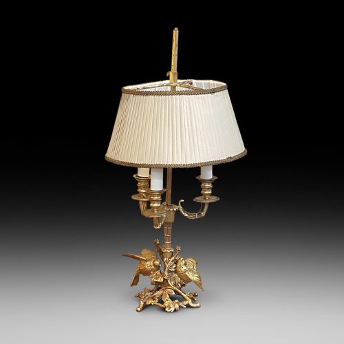 Late Victorian gilt metal table lamp