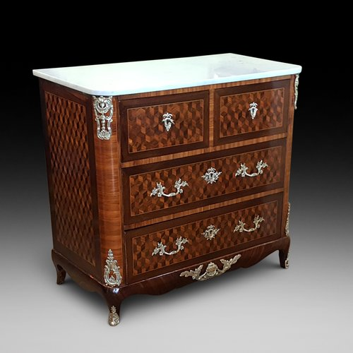Mid 19thC French  Parquetry Commode