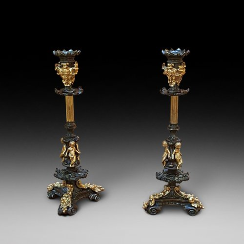 Pair Victorian Bronze Candlesticks
