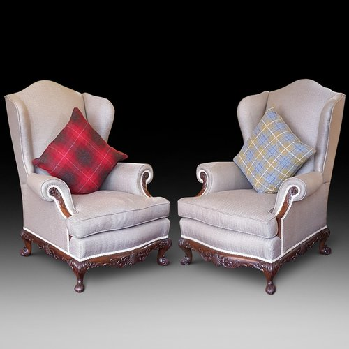 Pair of 1920's Mahogany Framed Wing Armchairs