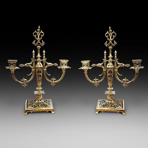 Pair of Aesthetic Brass Candelabra