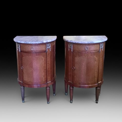 Pair of Amboyna and Walnut French Bedside Cabinets