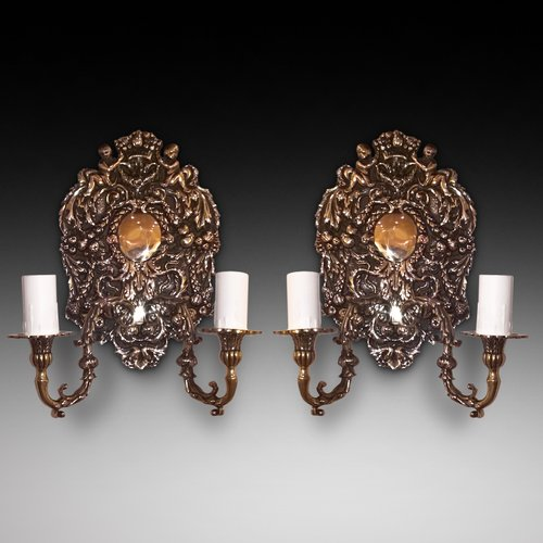Pair of Brass Twin Branch Wall Lights
