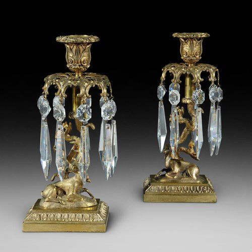 Pair of Early 19thC Gilt Metal Candlestick Lustres