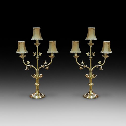 Pair of Early 20thC Brass Candelabra