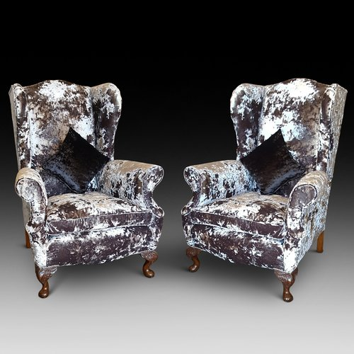 Pair of Early 20thC Oak Framed Wing Back Arm Chair