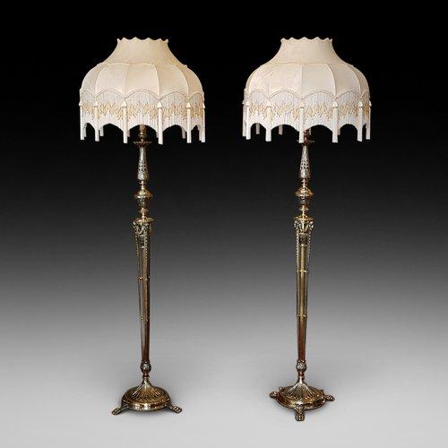 Pair of Edwardian Adam Revival Brass Standard Lamp