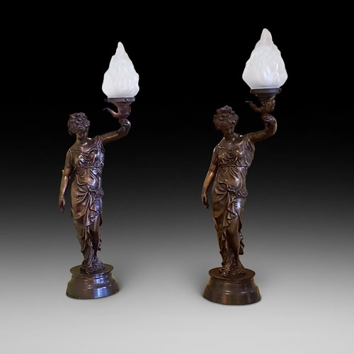 Pair of French Early 20thC Bronze Figural Lights