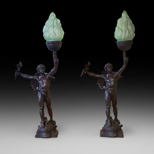 Pair of French Spelter Figural Table Lamps