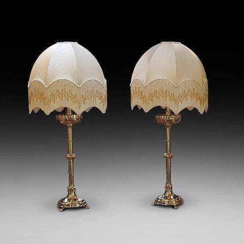 Pair of Late 19thC Brass Alter Sticks