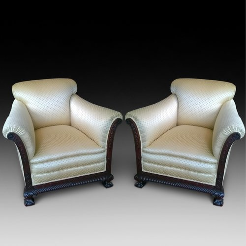 Pair of Late 19th Century Impressive Deep Armchair