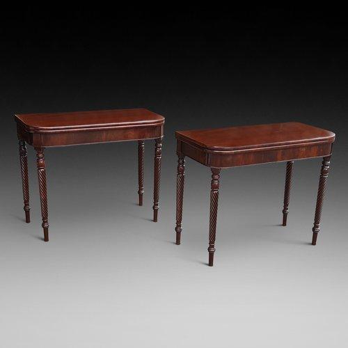 Pair of Regency Mahogany Tea Tables