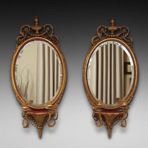 Pair of Regency Oval Girandole Wall Mirrors