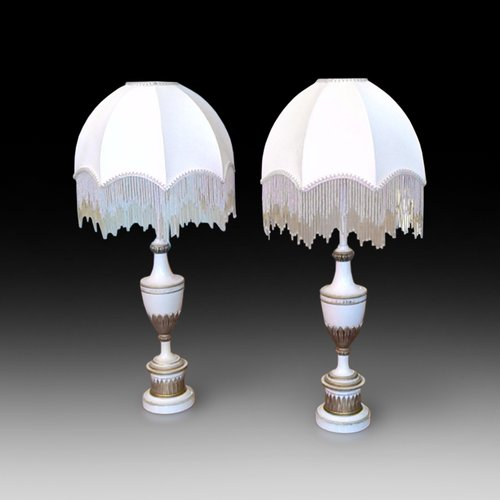 Pair on Enammeled Tall Table Lights