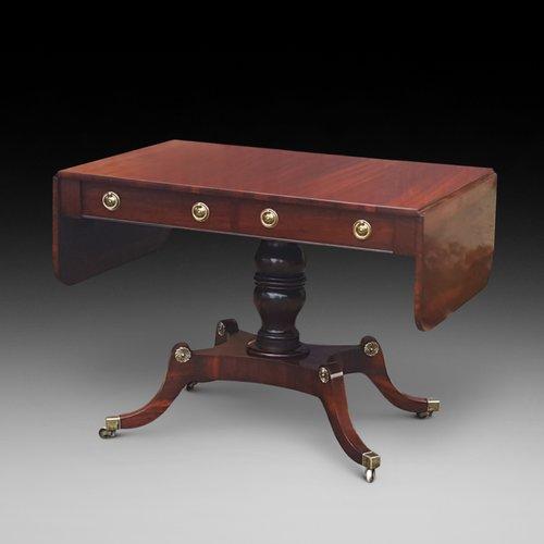 Regency Goncalo Alves Pedestal Sofa Table