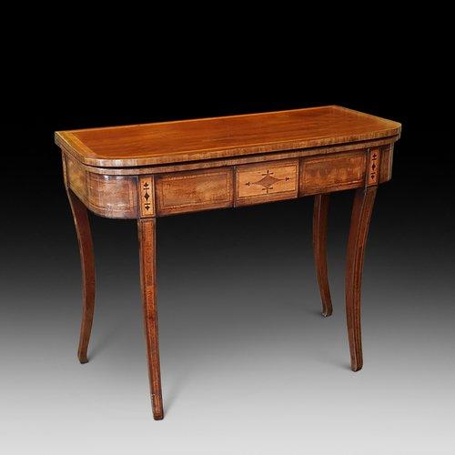 Regency Mahogany Fold Over Tea Table