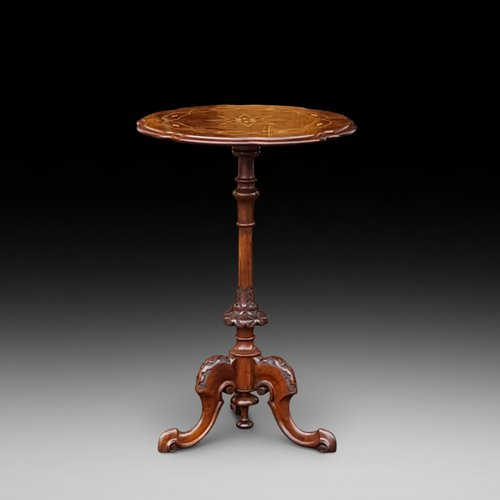 Victorian Burr Walnut and Inlaid Side Lamp Table