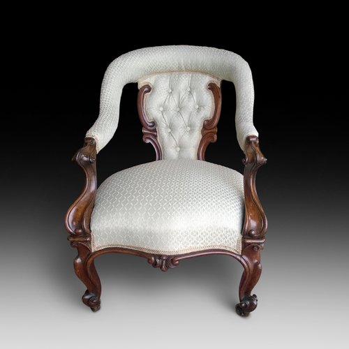 Victorian Carved Rosewood Open Arm Chair