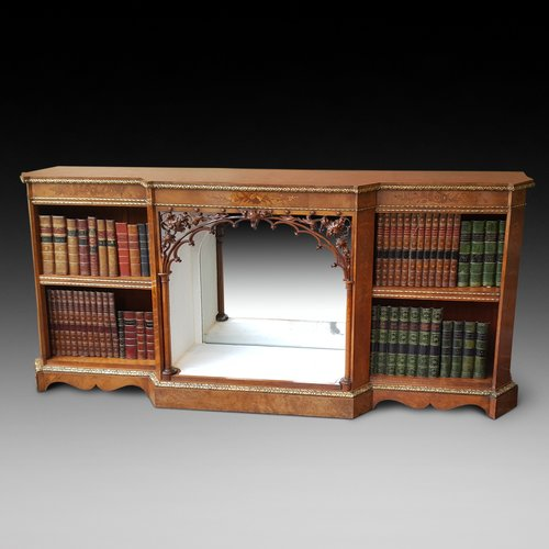Victorian Walnut Break Front Dwarf Bookcase