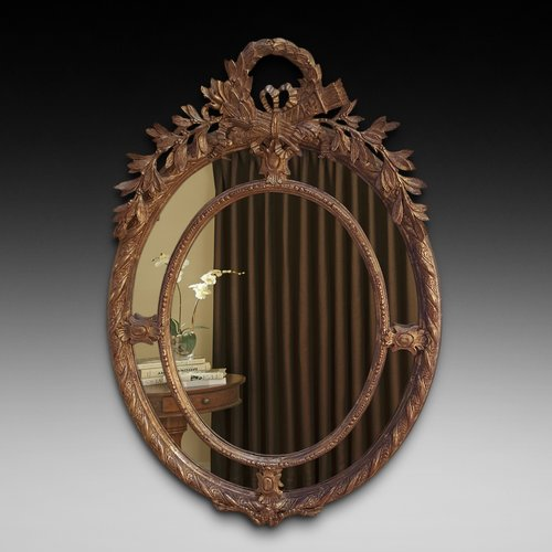 Victorian gilt wood oval wall mirror