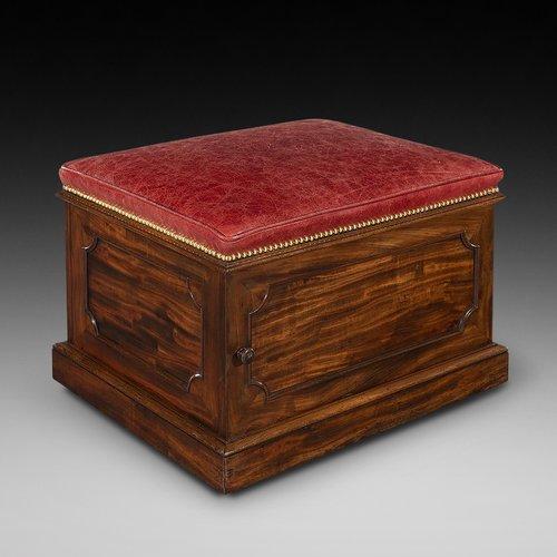 William IV Mahogany and Leather Ottoman Stool