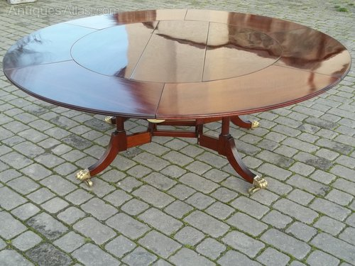 antique circular mahogany extending dining table. Black Bedroom Furniture Sets. Home Design Ideas