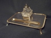 antique silver inkwell and ink
