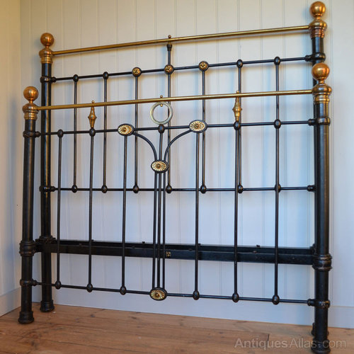 Original Victorian Brass Beds : Victorian brass and iron double bedstead bed antiques atlas