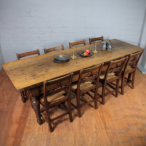 Eight feet long oak kitchen table antiques atlas for 10 foot long table