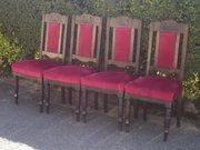 four velvet upholstered dining