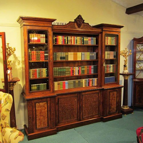 Large Walnut Antique Bookcase - Antiques Atlas