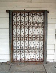 Mid 19thC Wrought Iron Grilled