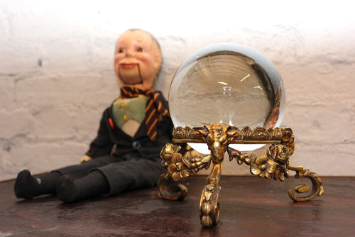 A Rare c.1920-40 Crystal Ball On Gilt Bronze Stand