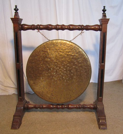 large arts and crafts oak amp brass dinner gong   antiques atlas