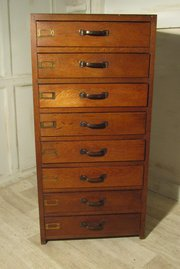 Art Deco 8 Drawer Oak Filing C