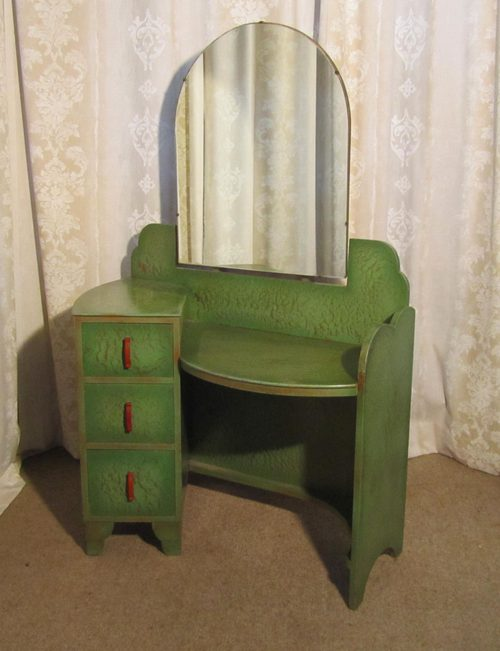 Art Deco Green u0026 Gold Odeon Style Dressing Table - Antiques Atlas