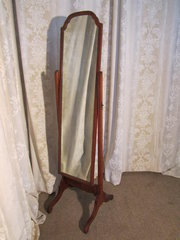 Edwardian Mahogany Cheval Mirr