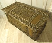Large Embossed Brass Log Box H