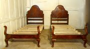 Pair of Bur Walnut Art Deco Tw