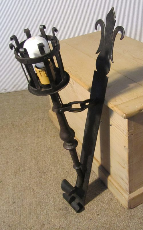 Iron Torch Wall Lights : Antiques Atlas - Pair Of French Gothic Iron Wall Lights (Torches)