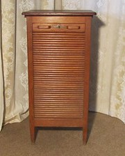 Tambour Fronted Oak Art Deco F