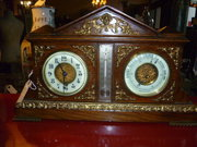 ANTIQUE MANTLE CLOCK BAROMETER