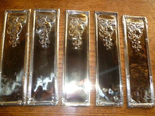 Antiques atlas set of six antique door finger plates for Door finger plates