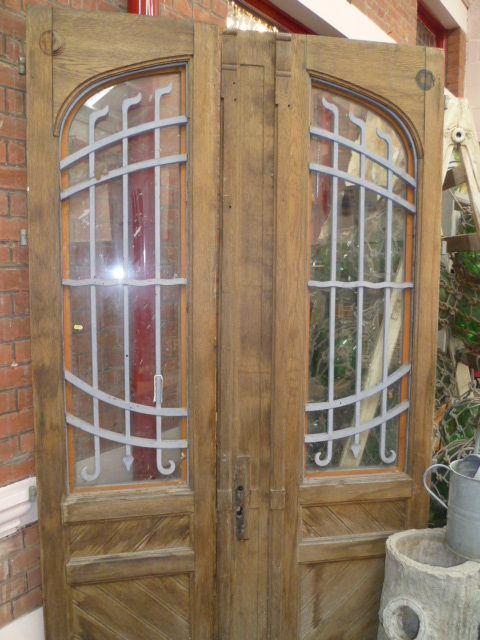 Antiques atlas pair of french oak antique doors for Oak french doors