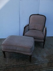 French Style Armchair and Stoo