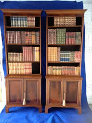 Pair Mahogany Inlaid Library B