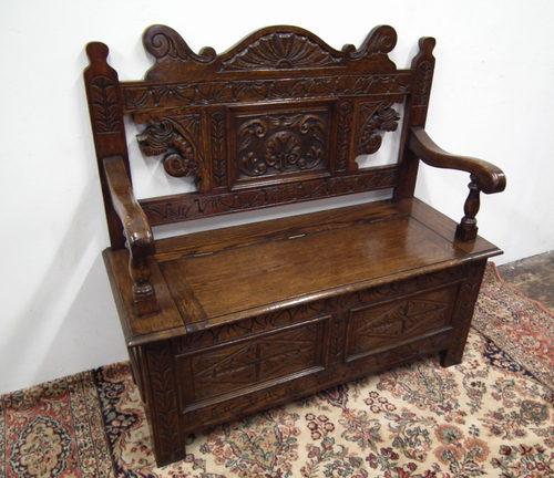 Edwardian carved oak monks bench antiques atlas